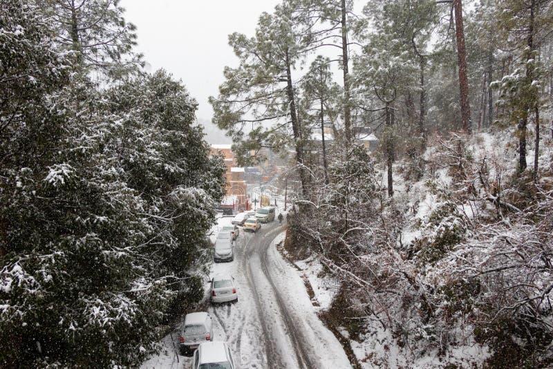 Banikhet Dalhousie, Himachal Pradesh, Indien - Januari 2019 F?ljder av tungt sn?fall, v?gen och parkerade bilar t?ckas arkivbild