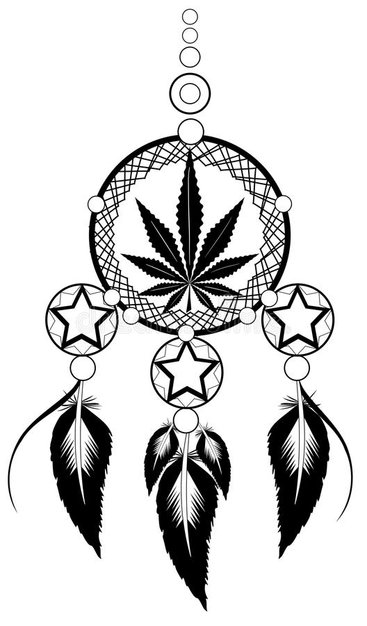 Banishes thoughts with marijuana leaf. Image representing a stylized banishes thoughts usable for logo, tattoo or decoration stock illustration