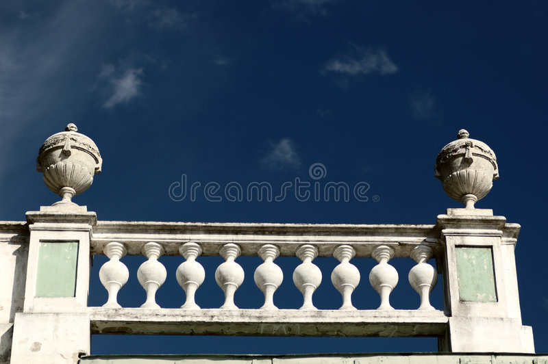 Banisters on blue sky backgrou