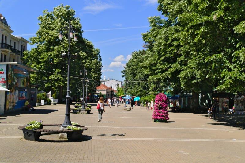Banja de Vrnjacka, Serbia-5 30 2017: 'promenade' en el centro de la ciudad, calle principal imagenes de archivo