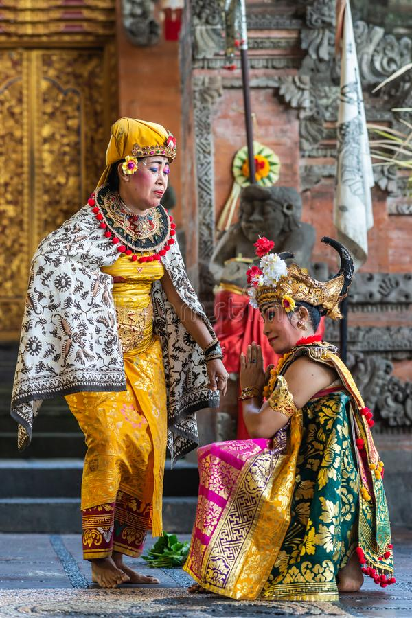 Two Queens at Sahadewa Barong Dance Studio in Banjar Gelulung, Bali Indonesia. Banjar Gelulung, Bali, Indonesia - February 26, 2019: Mas Village. Play on stage royalty free stock photography