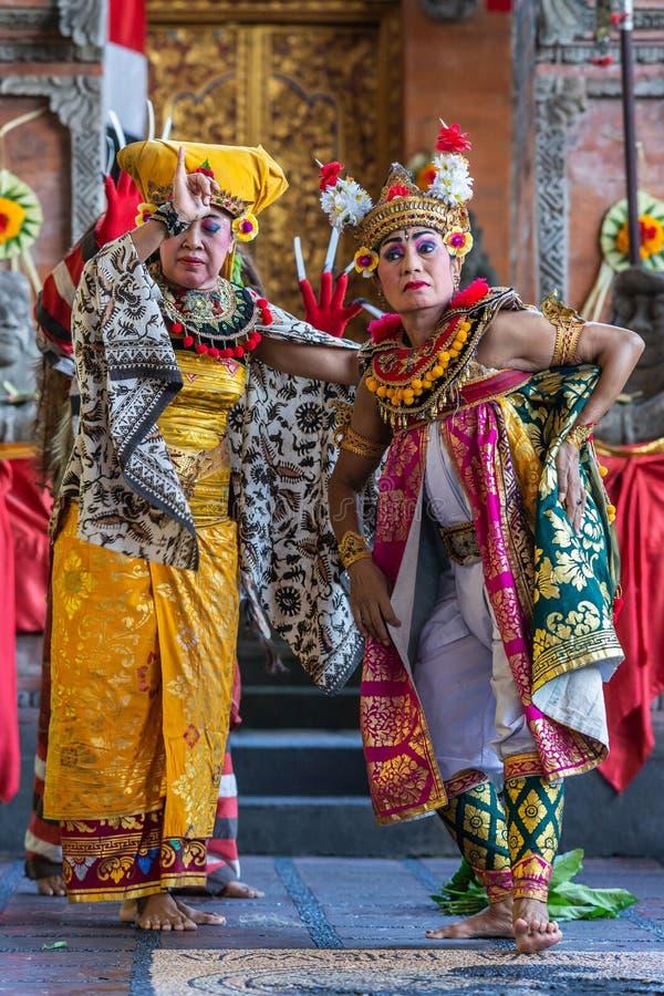 Two Queens at Sahadewa Barong Dance Studio in Banjar Gelulung, Bali Indonesia. Banjar Gelulung, Bali, Indonesia - February 26, 2019: Mas Village. Play on stage royalty free stock photos