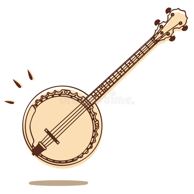 Banjo vector. Illustrations of banjo isolated on white background + vector eps file royalty free illustration