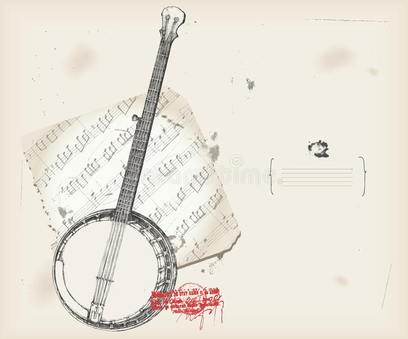 Banjo drawing- music instrument with score