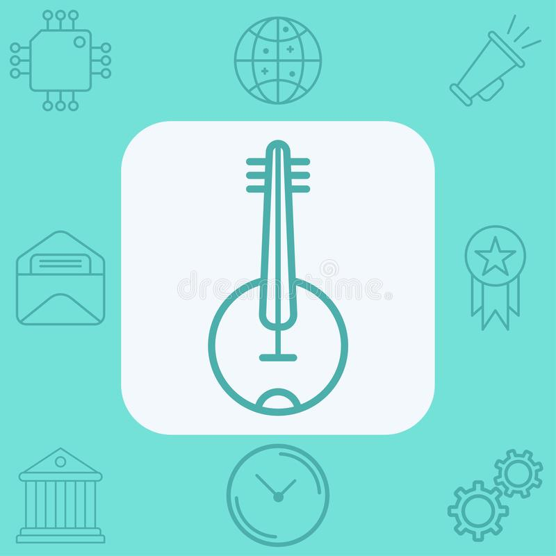 Banjo vector icon sign symbol. Banjo icon vector, filled flat sign, solid pictogram isolated on white. Symbol, logo illustration vector illustration