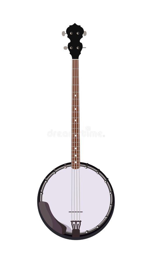Banjo - instrument de musique folklorique dans le style réaliste illustration de vecteur