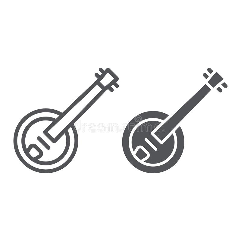 Banjo line and glyph icon, music and string, folk musical instrument sign, vector graphics, a linear pattern on a white. Background, eps 10 vector illustration