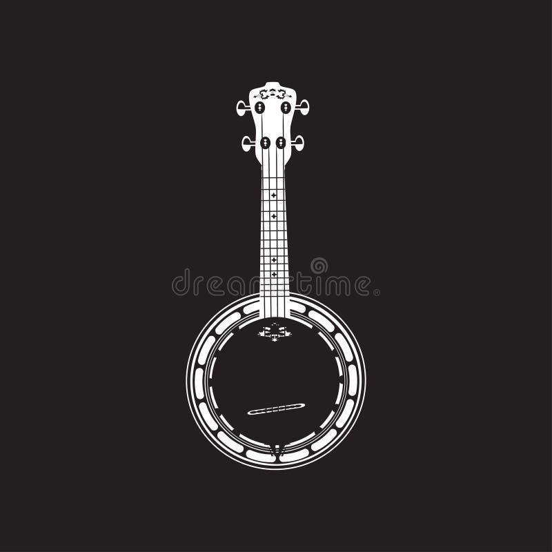 Banjo liso do vetor, molde branco ilustração do vetor