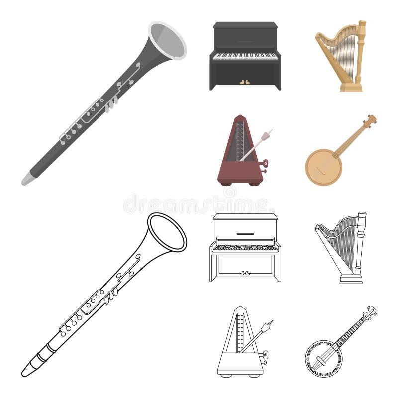 Banjo, piano, harpe, métronome Les instruments de musique ont placé des icônes de collection dans la bande dessinée, actions de s illustration libre de droits