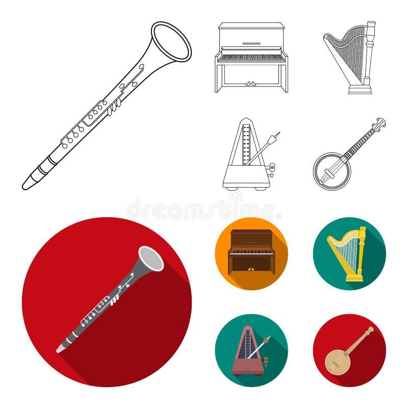 Banjo, piano, harpe, métronome Les instruments de musique ont placé des icônes de collection dans le contour, actions plates de s illustration stock