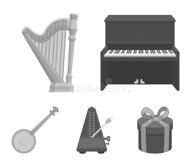 Banjo, piano, harpe, métronome Les instruments de musique ont placé des icônes de collection en stock monochrome de symbole de ve illustration stock
