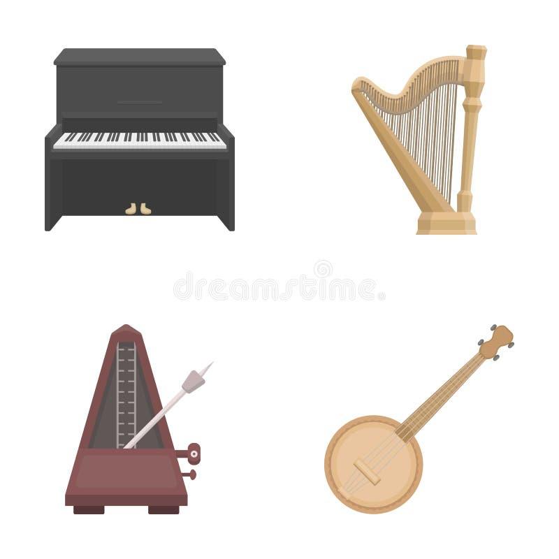 Banjo, piano, harpe, métronome Les instruments de musique ont placé des icônes de collection en stock de symbole de vecteur de st illustration libre de droits