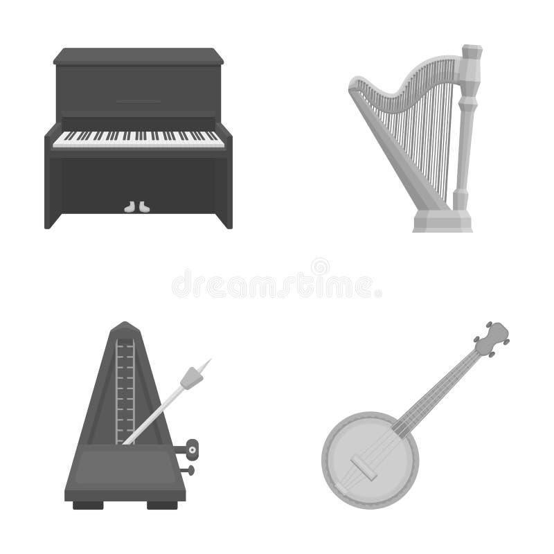 Banjo, piano, harpe, métronome Les instruments de musique ont placé des icônes de collection en stock monochrome de symbole de ve illustration libre de droits