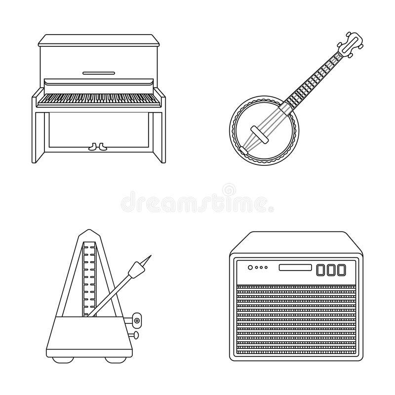 Banjo, piano, haut-parleur, métronome  illustration stock