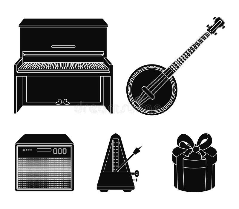 Banjo, piano, haut-parleur, métronome Les instruments de musique ont placé des icônes de collection en stock noir de symbole de v illustration libre de droits