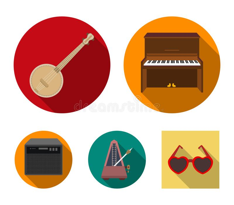 Banjo, piano, haut-parleur, métronome Les instruments de musique ont placé des icônes de collection en stock plat de symbole de v illustration libre de droits