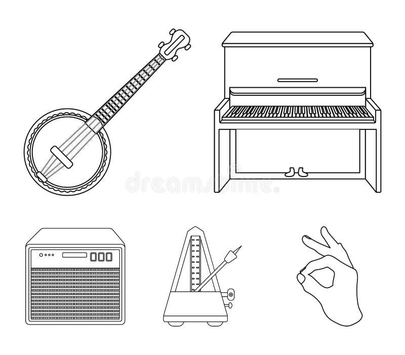 Banjo, piano, haut-parleur, métronome Les instruments de musique ont placé des icônes de collection en stock de symbole de vecteu illustration stock
