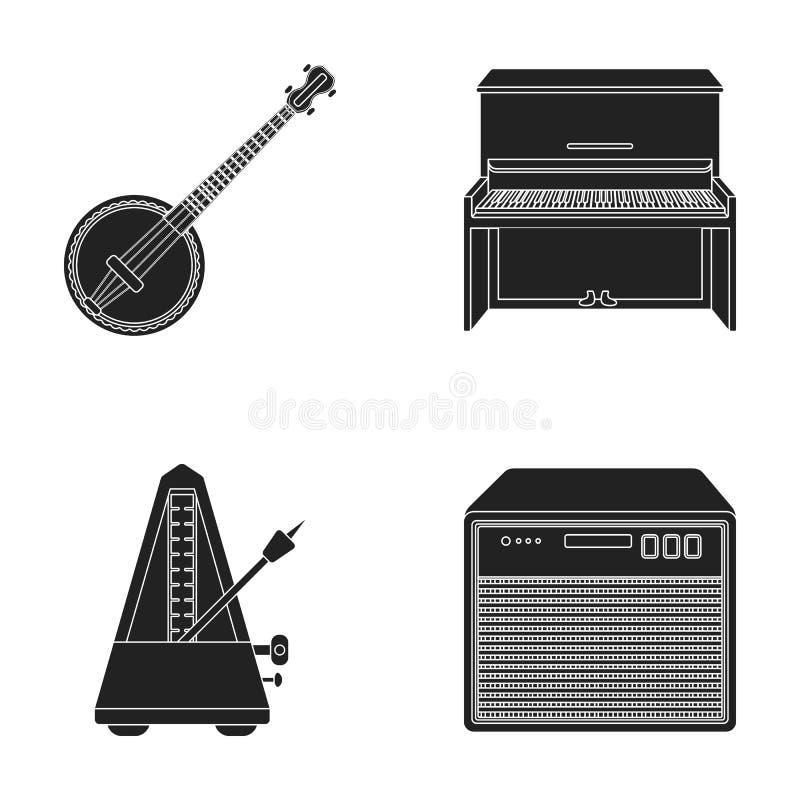 Banjo, piano, haut-parleur, métronome Les instruments de musique ont placé des icônes de collection en stock noir de symbole de v illustration stock