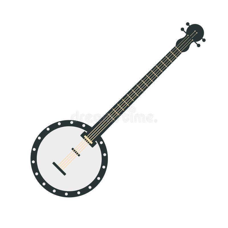 Banjo, une partie d'ensemble d'instruments de musique d'illustrations d'isolement par vecteur réaliste de bande dessinée illustration stock