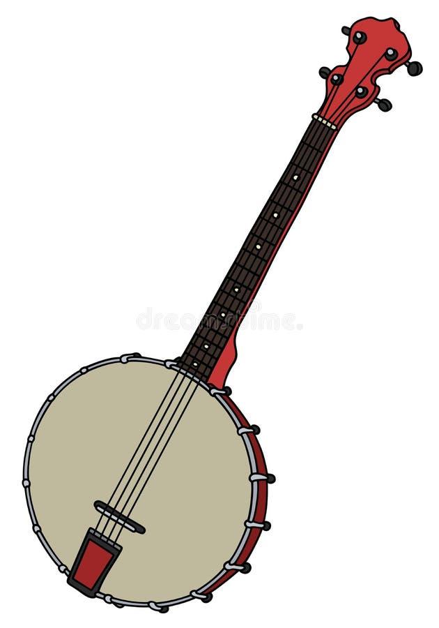 Banjo vermelho pequeno velho ilustração royalty free