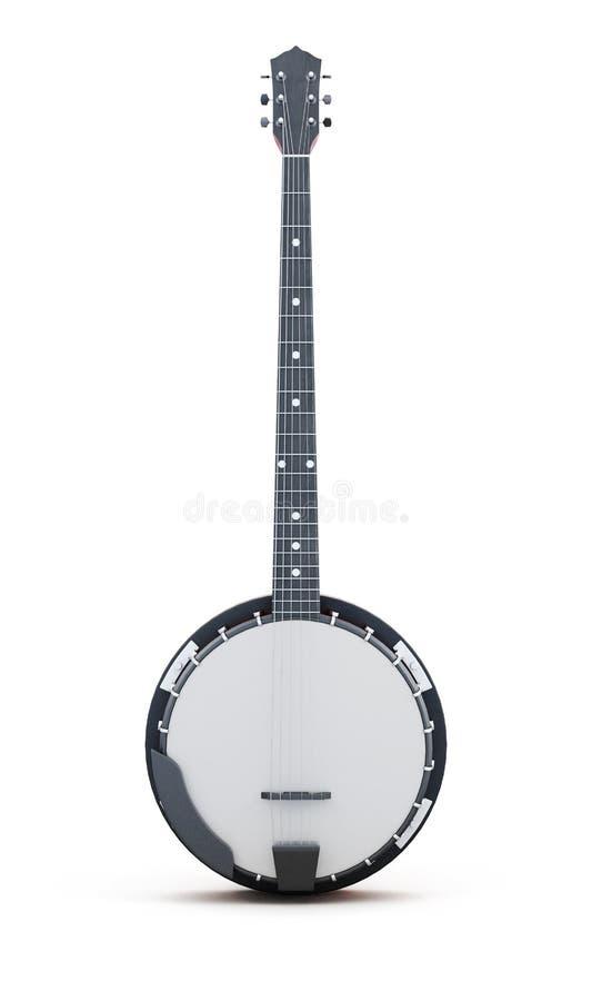Banjo verticalmente em um fundo branco rendição 3d ilustração royalty free