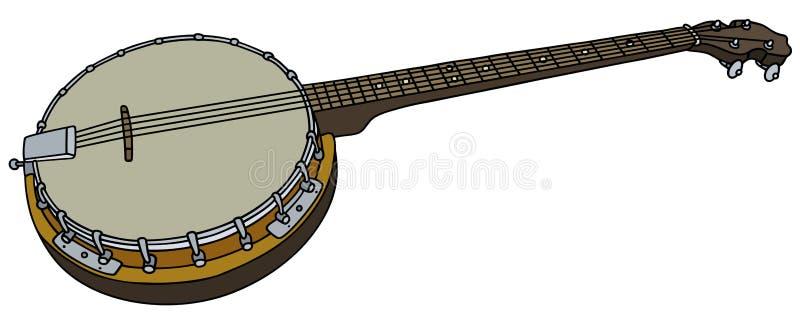 Banjo viejo de cuatro secuencias stock de ilustración