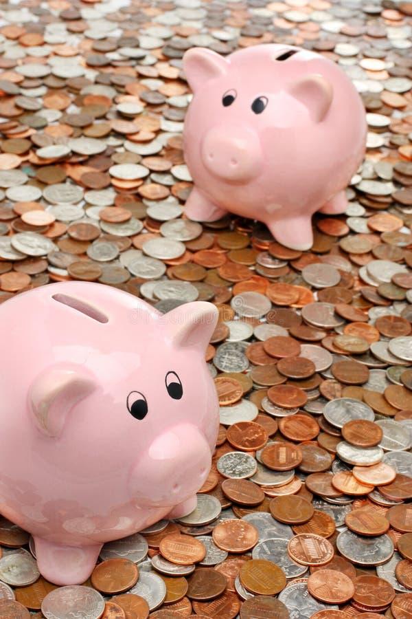 banków biznesowy pojęcia finanse pieniądze nad prosiątkiem fotografia stock
