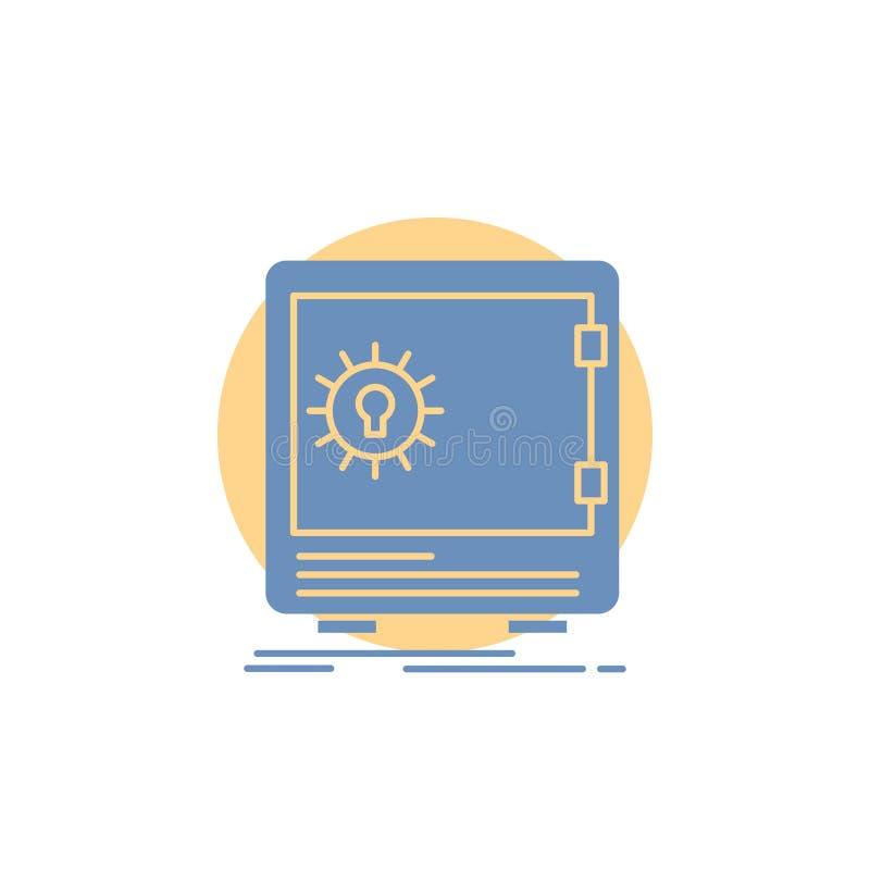 Bank, Ablagerung, Safe, Sicherheit, Geldschrank Glyph-Ikone vektor abbildung