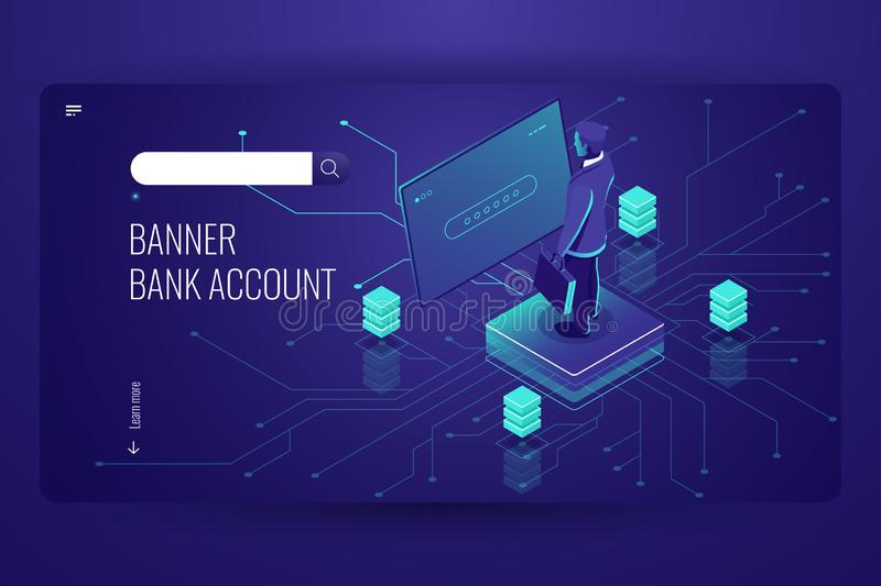 Bank account, accounting online service, data access process, artificial intelligence, man be registered in system, dark stock illustration