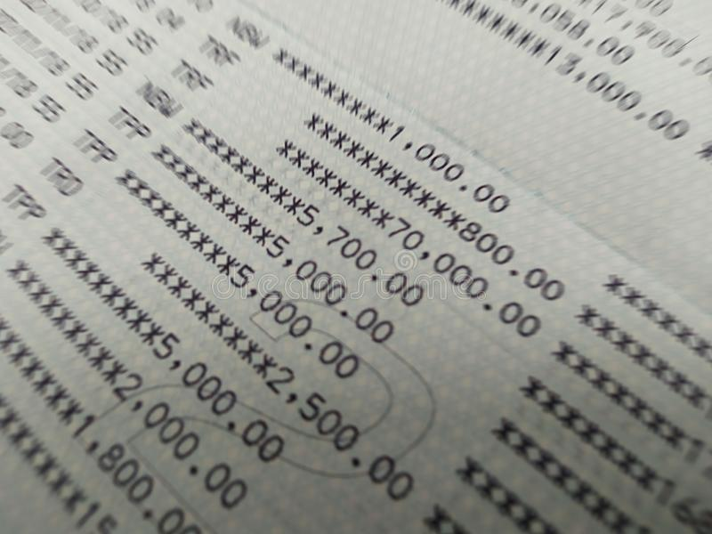 Bank account book close up selective focus royalty free stock photography