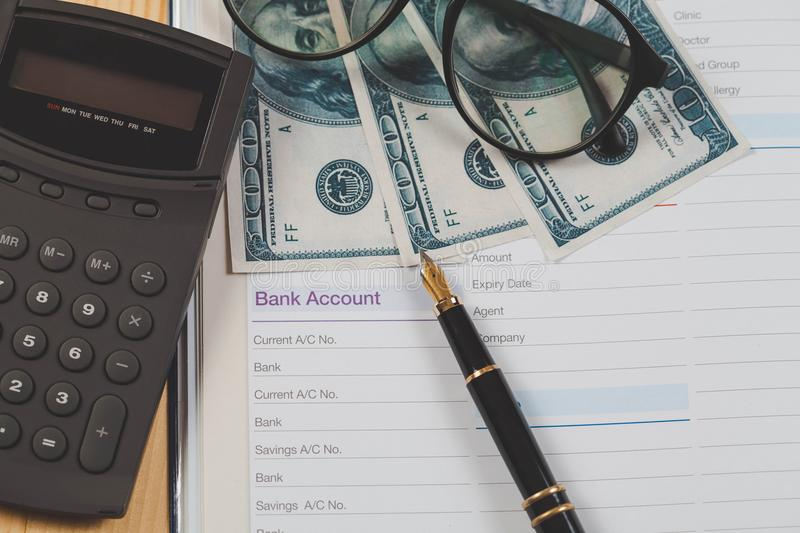 Bank account in book note with fountain pen. For business financial stock images