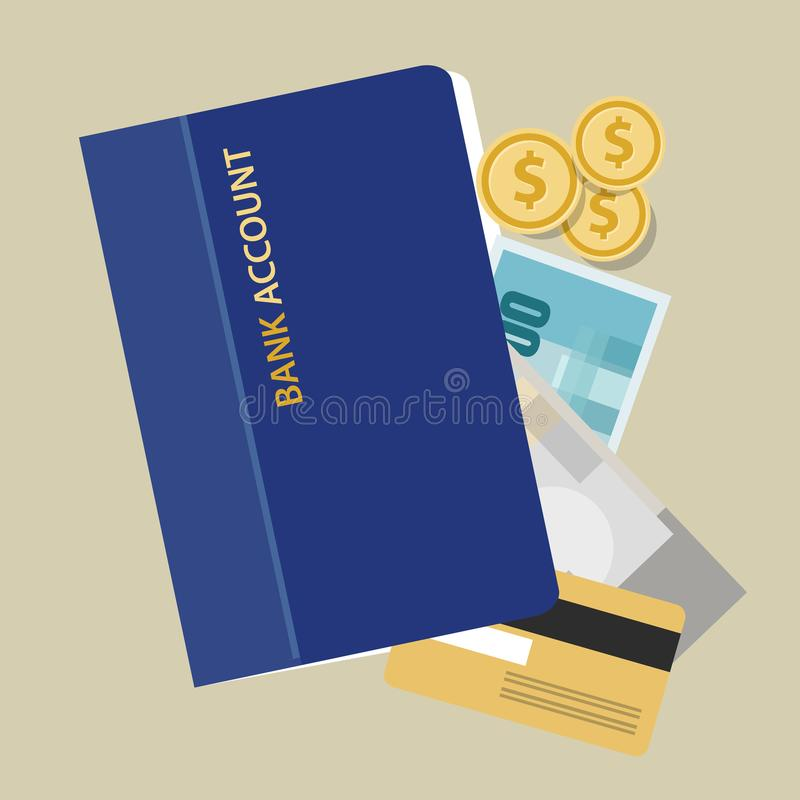 Bank account book statement paper money finance savings invest cash object stock illustration