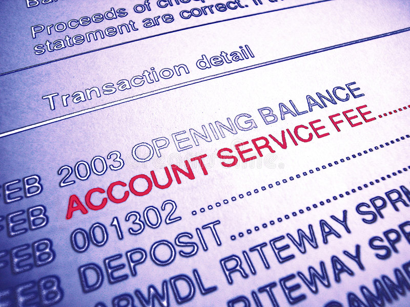 Bank Account Service Fee Statement Stock Photography