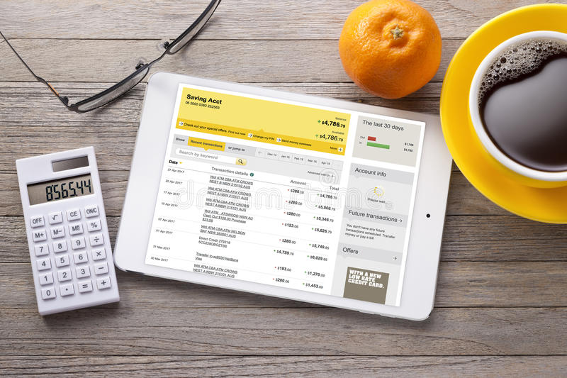 Bank Banking Accounts Tablet Calculator stock images