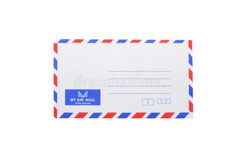 Bank airmail envelope. Blank airmail envelope with white background royalty free stock image