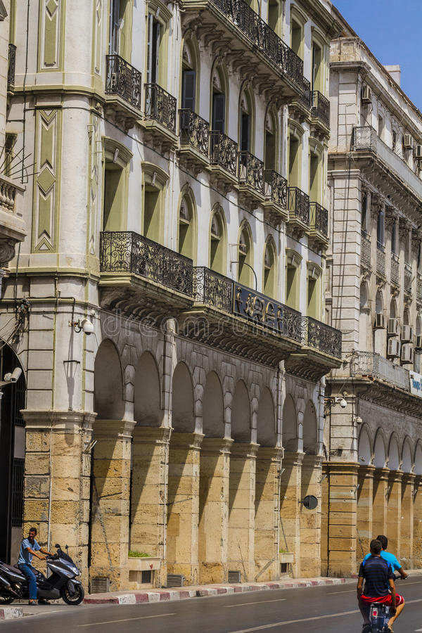 Bank of Algeria, Algiers. The headquarter of the bank of Algeria in a main street in Algiers the capital city of Algeria royalty free stock images