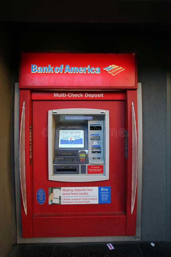 a bank of america atm machine editorial image