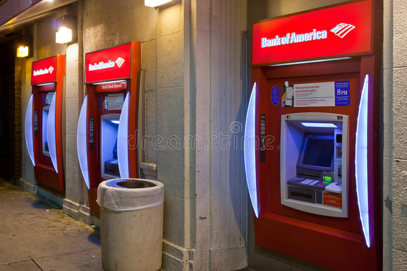 Bank Of America ATM Machines In Lower Class Area Editorial Stock Image