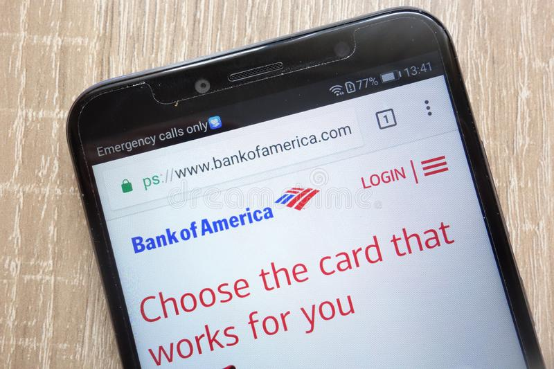Bank of America Corp. website displayed on a modern smartphone. KONSKIE, POLAND - AUGUST 04, 2018: Bank of America Corp. website displayed on a modern smartphone stock image