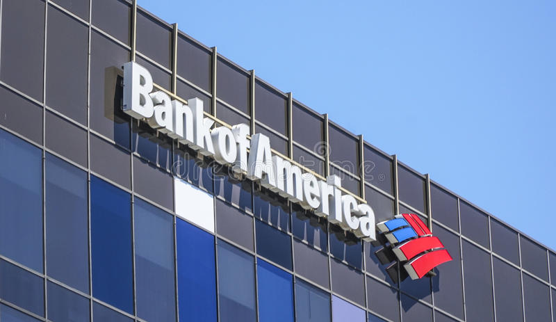 Bank of America i Beverly Hills - LOS ANGELES - KALIFORNIEN - APRIL 20, 2017 royaltyfri bild