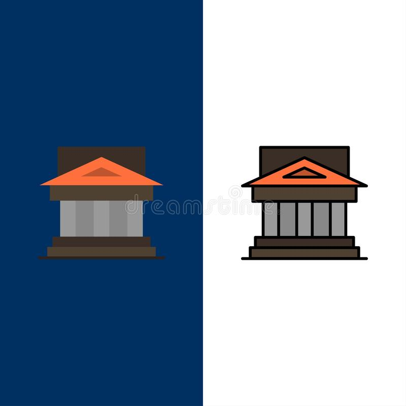 Bank, Architecture, Building, Court, Estate, Government, House, Property  Icons. Flat and Line Filled Icon Set Vector Blue vector illustration