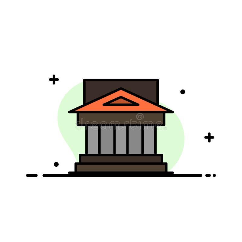 Bank, Architektur, Gebäude, Gericht, Zustand, Regierung, Haus, Eigentums-Geschäfts-flache Linie füllte Ikonen-Vektor-Fahnen-Schab lizenzfreie abbildung