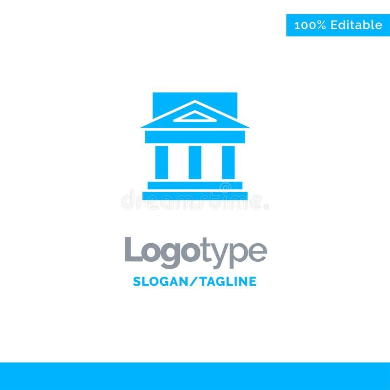 Bank, architektura, budynek, sąd, nieruchomość, rząd, dom, Majątkowy Błękitny Stały logo szablon Miejsce dla Tagline royalty ilustracja
