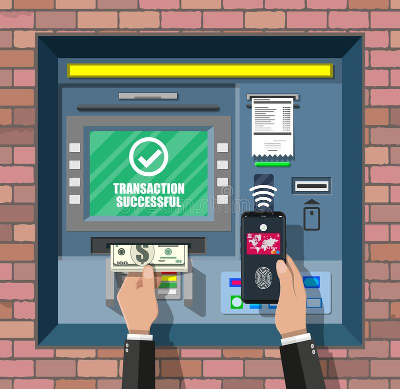 Bank ATM. Automatic teller machine. Program electronic device for payments. Withdrawing money with smartphone by wireless nfc technology with fingerprint stock illustration