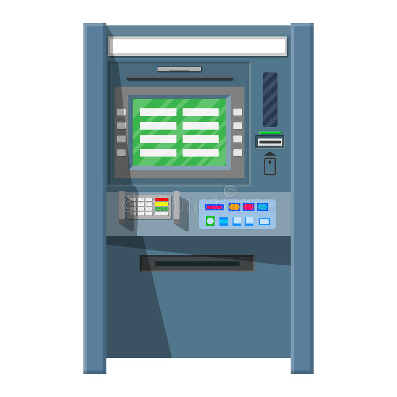 Bank ATM. Automatic teller machine. Program electronic device for payments and withdraw cash from plastic card. Economic, bank and finance industry. Vector royalty free illustration