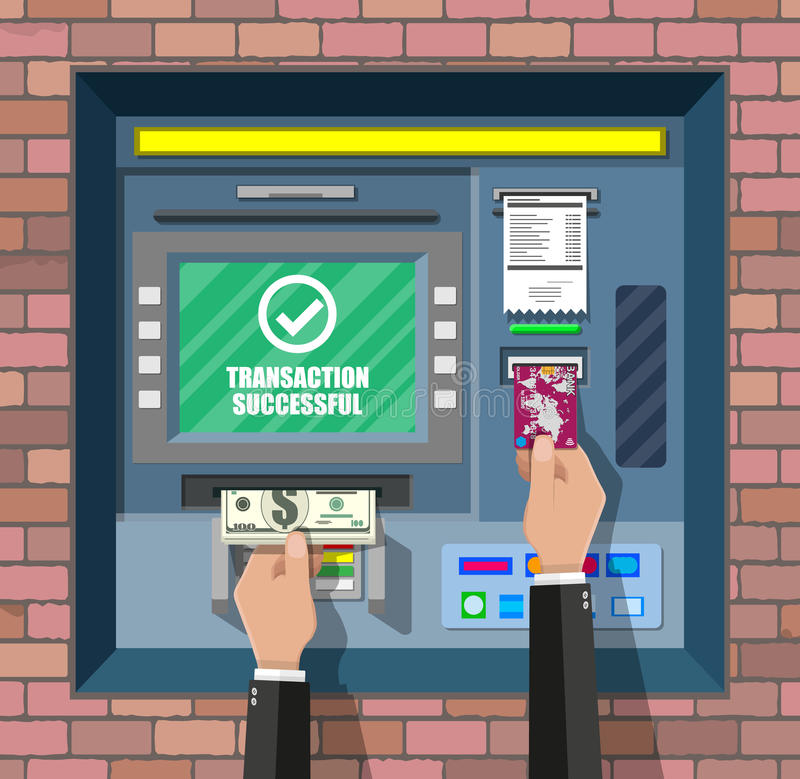 Bank ATM. Automatic teller machine. Program electronic device for payments and withdraw cash from plastic card. Economic, bank and finance industry. Vector stock illustration