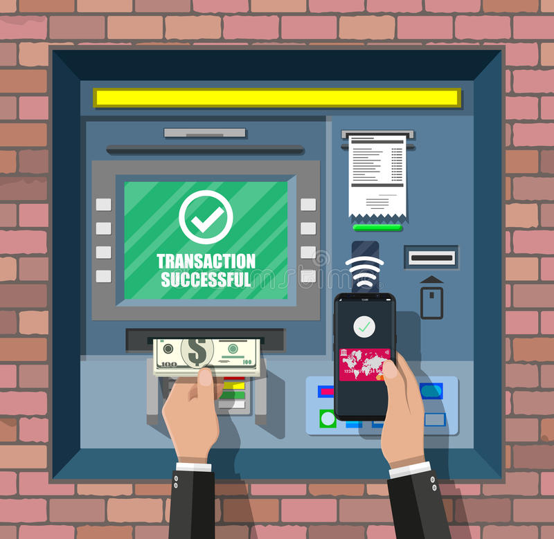 Bank ATM. Automatic teller machine. Program electronic device for payments. Withdrawing money with smartphone by wireless nfc technology. Vector illustration royalty free illustration