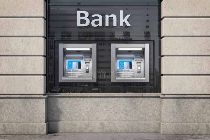 Bank ATM automatic  teller machines for money withdrawing. The station of self service automatic machines, Concept of banking. 3d illustration stock illustration