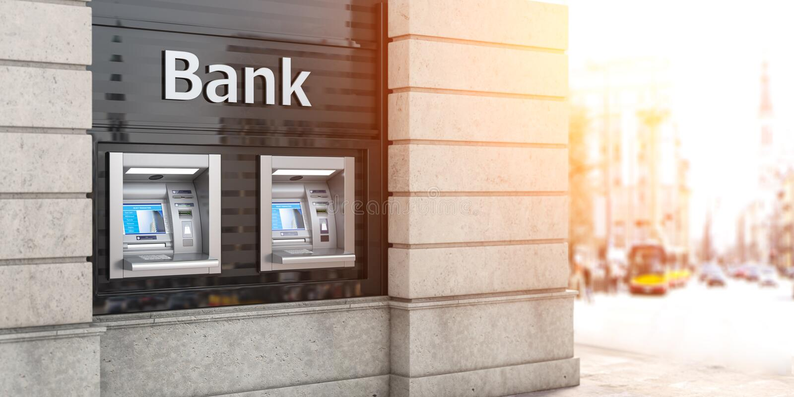 Bank ATM automatic  teller machines for money withdrawing. The station of self service automatic machines, Concept of banking. 3d illustration vector illustration