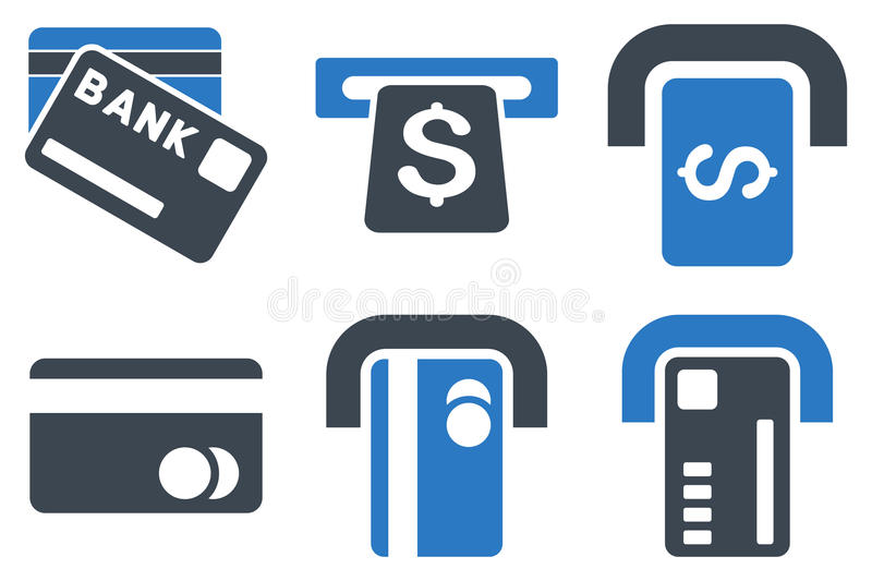 Bank ATM Flat Vector Icons royalty free illustration